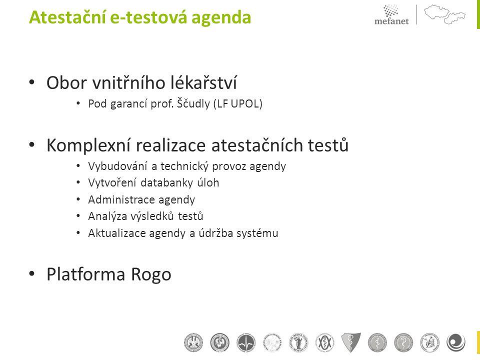Obor vnitřního lékařství Pod garancí prof. Ščudly (LF UPOL) Komplexní realizace atestačních testů Vybudování a technický provoz agendy Vytvoření datab