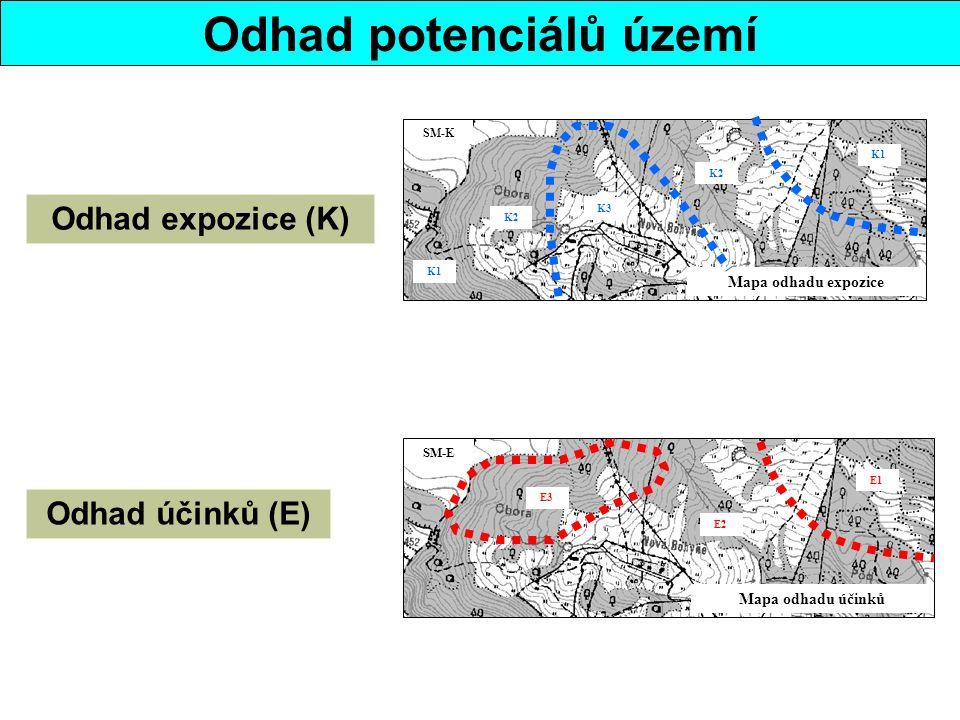 Odhad potenciálů území Mapa odhadu expozice K3 K2 K1 SM-K Odhad expozice (K) Mapa odhadu účinků SM-E E3 E2 E1 Odhad účinků (E)