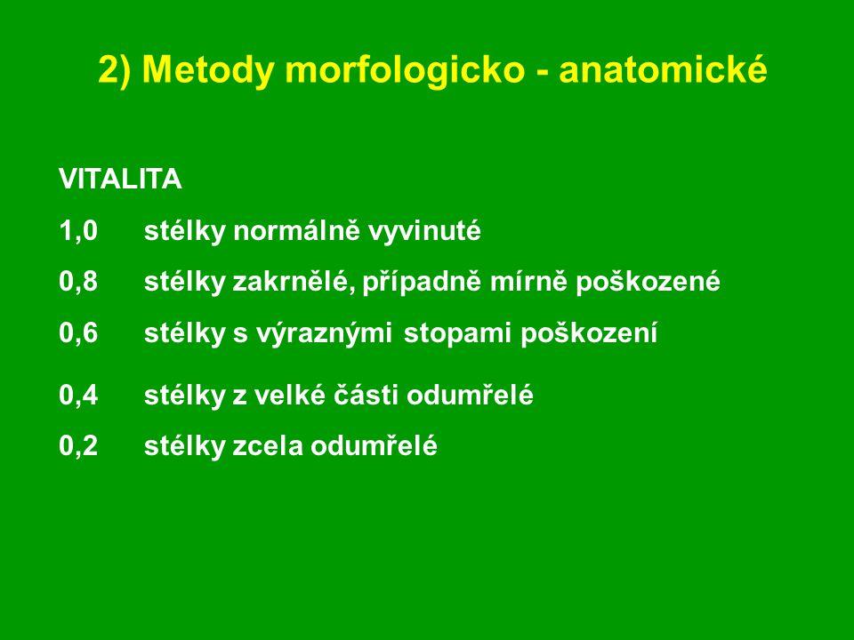 2) Metody morfologicko - anatomické VITALITA 1,0stélky normálně vyvinuté 0,8stélky zakrnělé, případně mírně poškozené 0,6stélky s výraznými stopami poškození 0,4stélky z velké části odumřelé 0,2stélky zcela odumřelé