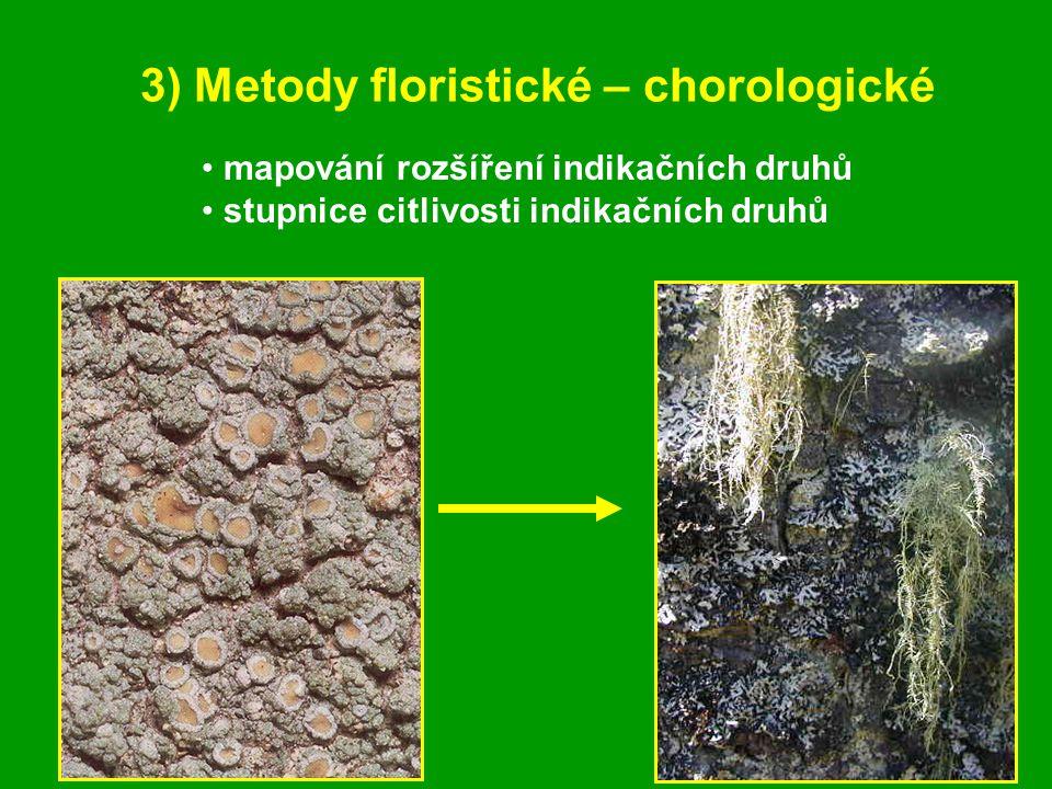 3) Metody floristické – chorologické mapování rozšíření indikačních druhů stupnice citlivosti indikačních druhů