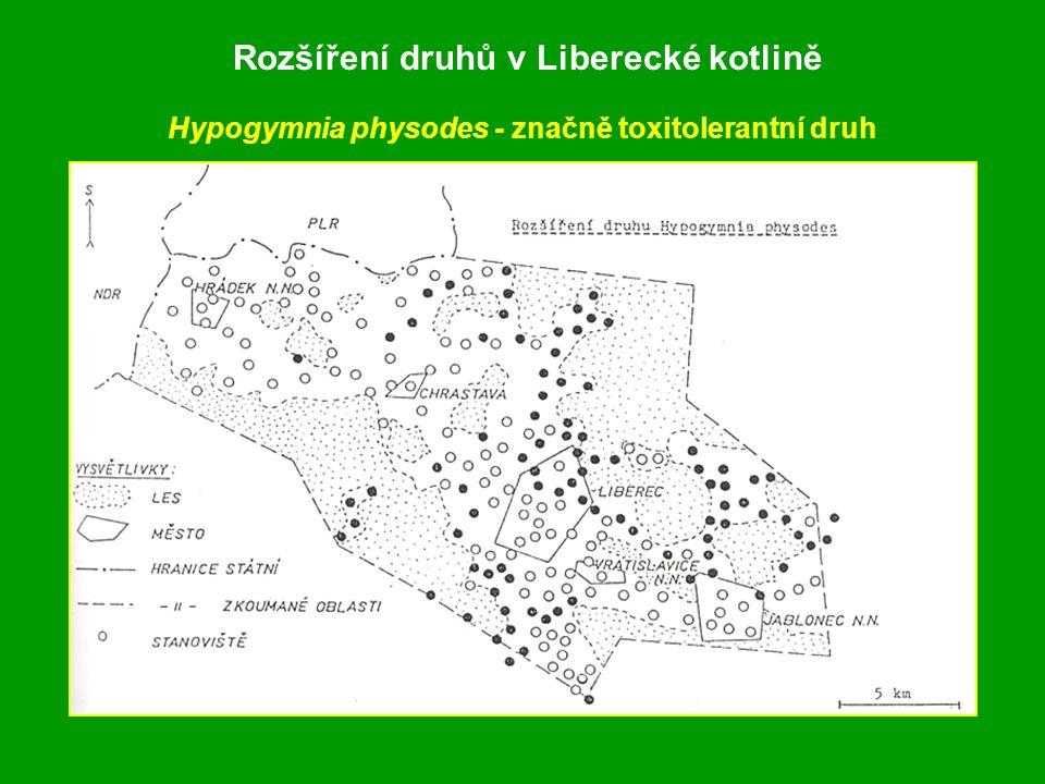 Rozšíření druhů v Liberecké kotlině Hypogymnia physodes - značně toxitolerantní druh