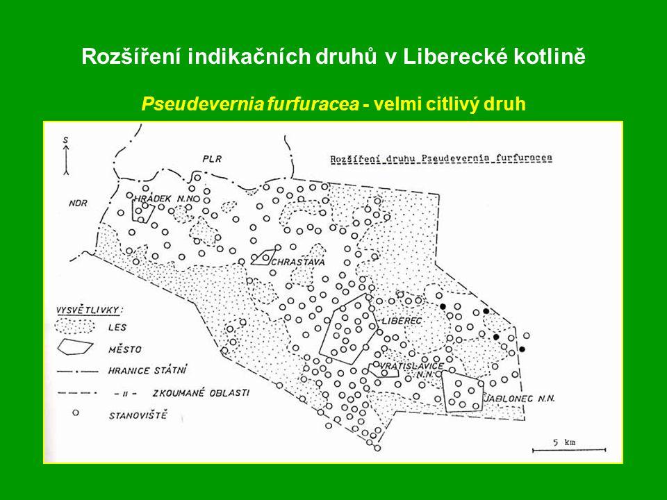 Rozšíření indikačních druhů v Liberecké kotlině Pseudevernia furfuracea - velmi citlivý druh