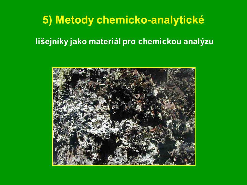 5) Metody chemicko-analytické lišejníky jako materiál pro chemickou analýzu