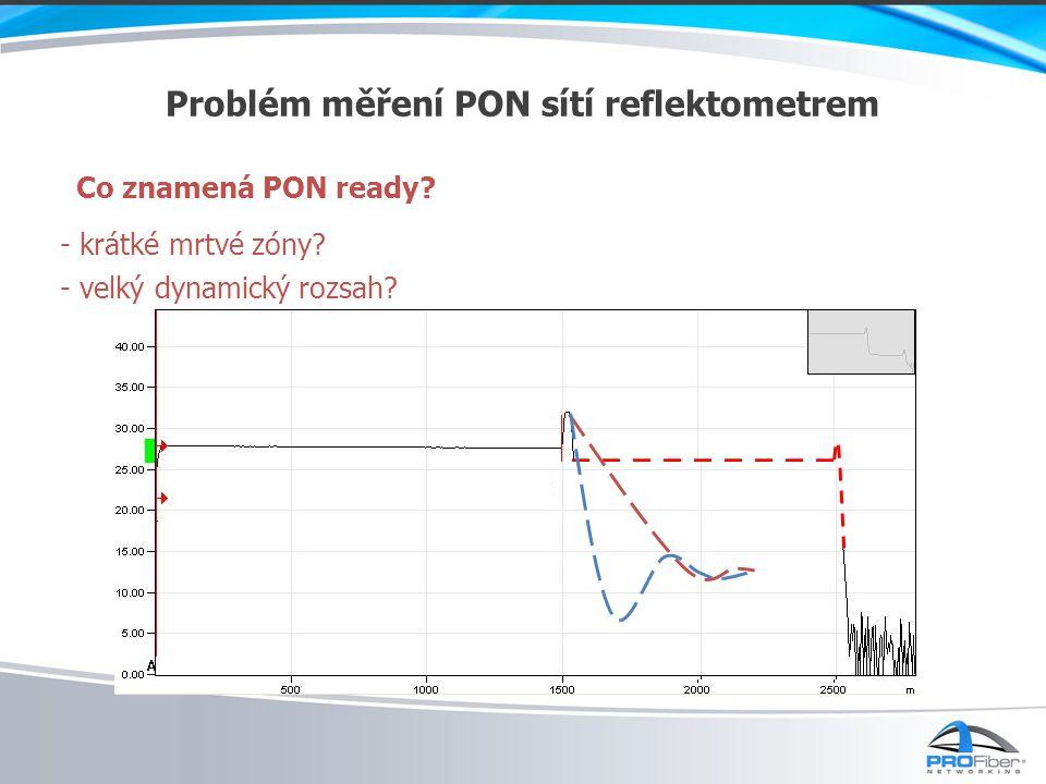 Problém měření PON sítí reflektometrem Co znamená PON ready? - krátké mrtvé zóny? - velký dynamický rozsah?