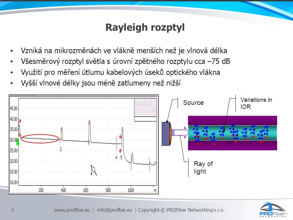Fresnel odraz Vzniká na přechodu dvou prostředí s odlišnými indexy lomu - konektorové spojení, přerušení kabelu, nečistoty apod., V reflektogramu je reprezentován výraznou špičkou Odraz pro UPC konektory je typicky –55 dB a pro APC konektory je typicky – 65 dB 20 000 krát větší než Raileigh rozptyl Po odrazu vzniká mrtvá zóna 7 www.profiber.eu | info@profber.eu | Copyright © PROFiber Networking s.r.o.