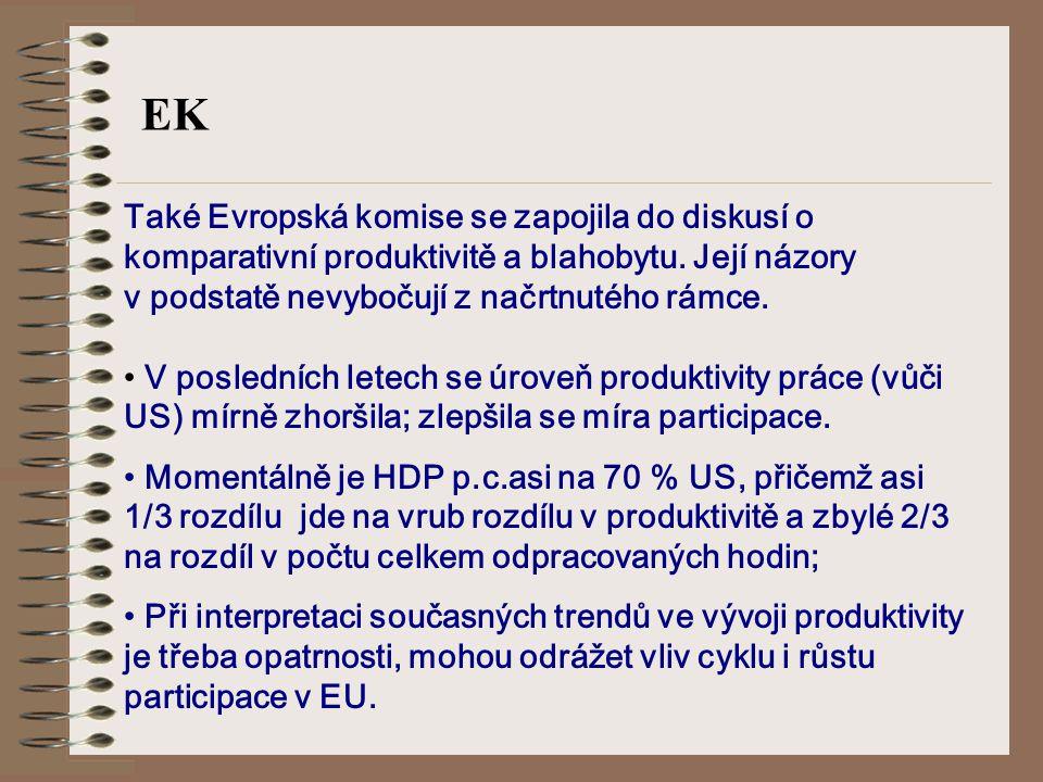EK Také Evropská komise se zapojila do diskusí o komparativní produktivitě a blahobytu.