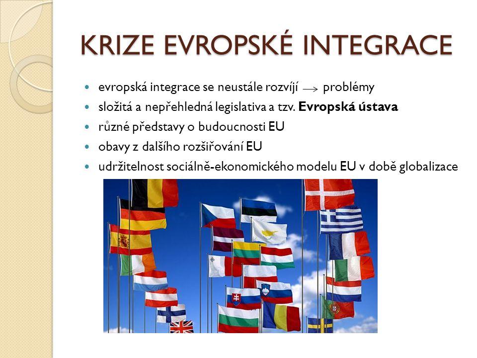 KRIZE EVROPSKÉ INTEGRACE evropská integrace se neustále rozvíjí problémy složitá a nepřehledná legislativa a tzv. Evropská ústava různé představy o bu