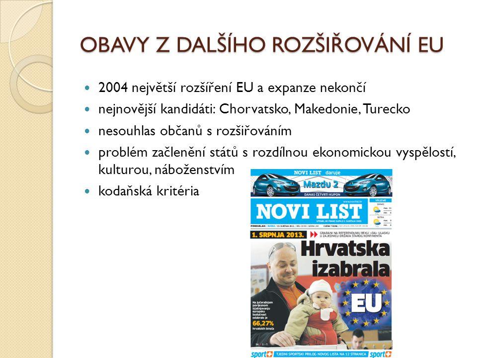 OBAVY Z DALŠÍHO ROZŠIŘOVÁNÍ EU 2004 největší rozšíření EU a expanze nekončí nejnovější kandidáti: Chorvatsko, Makedonie, Turecko nesouhlas občanů s ro