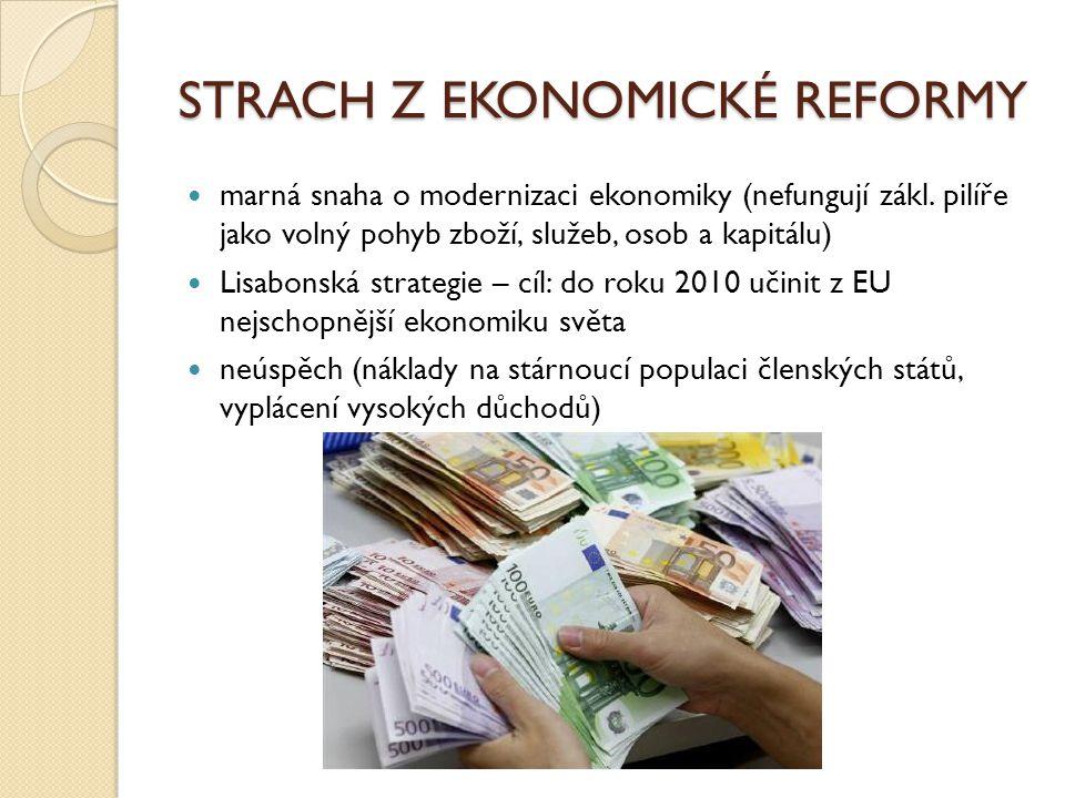 STRACH Z EKONOMICKÉ REFORMY marná snaha o modernizaci ekonomiky (nefungují zákl. pilíře jako volný pohyb zboží, služeb, osob a kapitálu) Lisabonská st