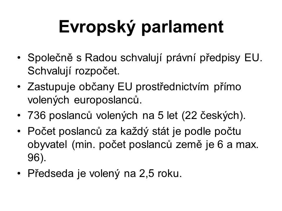 Evropský parlament Společně s Radou schvalují právní předpisy EU. Schvalují rozpočet. Zastupuje občany EU prostřednictvím přímo volených europoslanců.