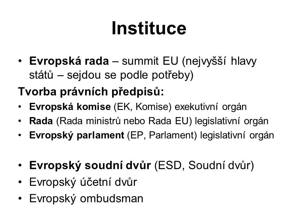 Instituce Evropská rada – summit EU (nejvyšší hlavy států – sejdou se podle potřeby) Tvorba právních předpisů: Evropská komise (EK, Komise) exekutivní