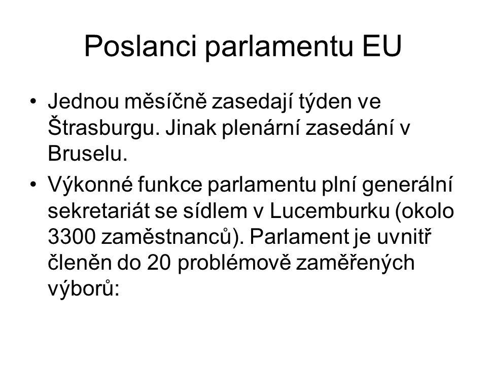 Poslanci parlamentu EU Jednou měsíčně zasedají týden ve Štrasburgu. Jinak plenární zasedání v Bruselu. Výkonné funkce parlamentu plní generální sekret