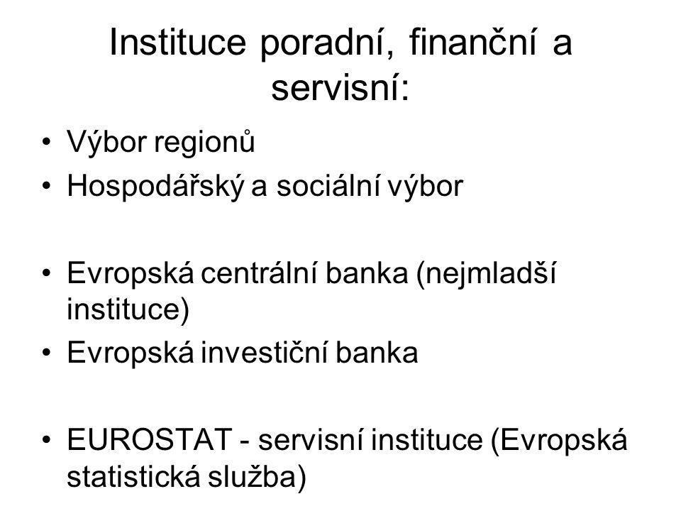 Instituce poradní, finanční a servisní: Výbor regionů Hospodářský a sociální výbor Evropská centrální banka (nejmladší instituce) Evropská investiční