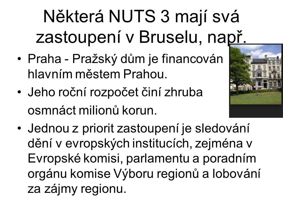 Některá NUTS 3 mají svá zastoupení v Bruselu, např. Praha - Pražský dům je financován hlavním městem Prahou. Jeho roční rozpočet činí zhruba osmnáct m