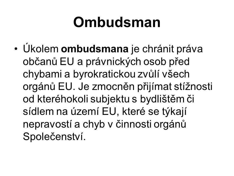 Ombudsman Úkolem ombudsmana je chránit práva občanů EU a právnických osob před chybami a byrokratickou zvůlí všech orgánů EU. Je zmocněn přijímat stíž
