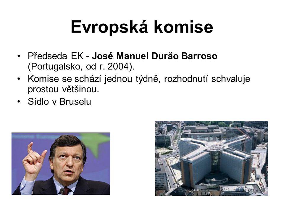Evropská komise Předseda EK - José Manuel Durão Barroso (Portugalsko, od r. 2004). Komise se schází jednou týdně, rozhodnutí schvaluje prostou většino