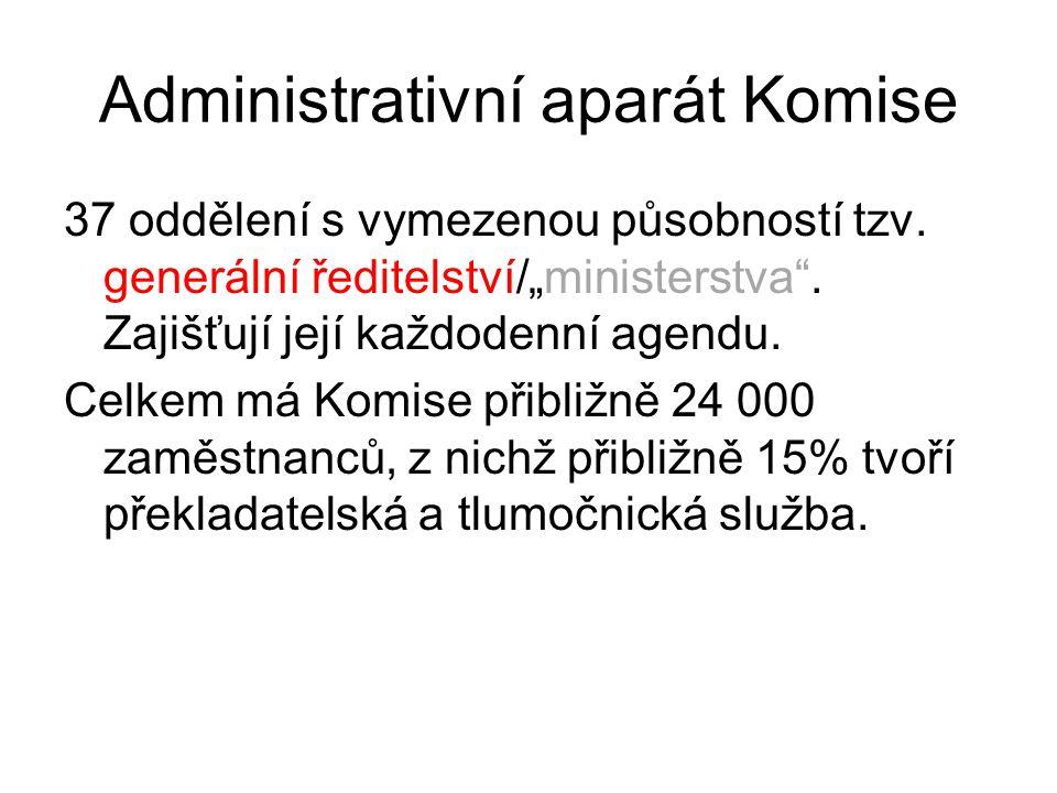 """Administrativní aparát Komise 37 oddělení s vymezenou působností tzv. generální ředitelství/""""ministerstva"""". Zajišťují její každodenní agendu. Celkem m"""