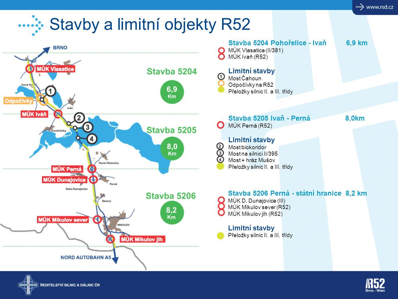 Stavby a limitní objekty R52 Stavba 5204 Pohořelice - Ivaň 6,9 km MÚK Vlasatice (II/381) MÚK Ivaň (R52) Limitní stavby Most Čahoun Odpočívky na R52 Př