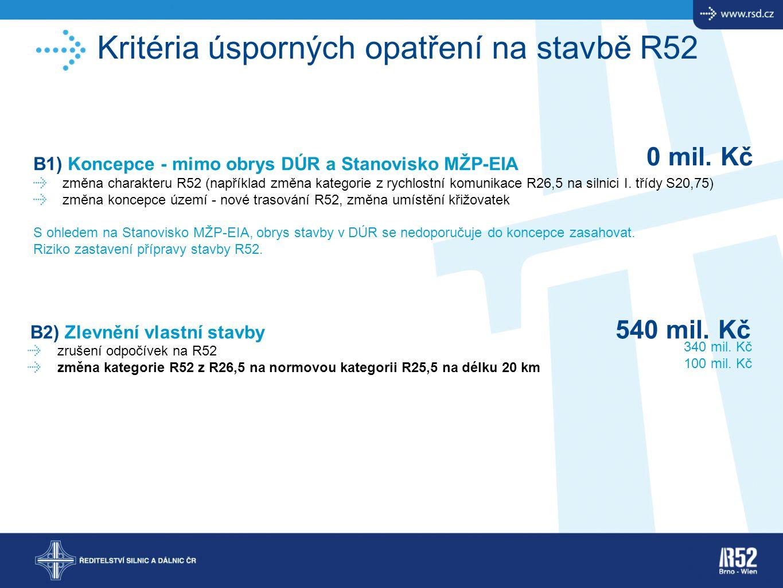 Kritéria úsporných opatření na stavbě R52 B1) Koncepce - mimo obrys DÚR a Stanovisko MŽP-EIA změna charakteru R52 (například změna kategorie z rychlos