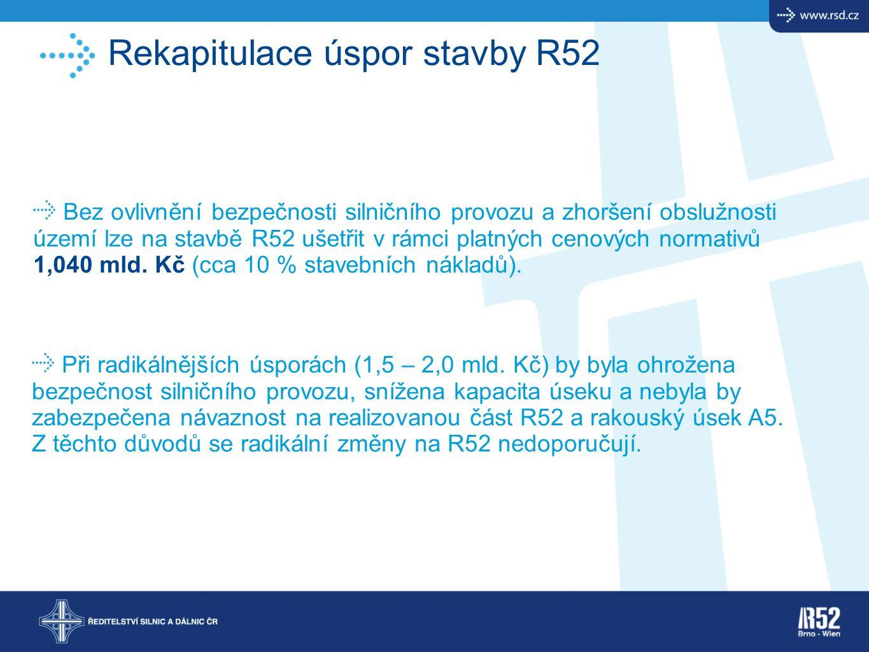Rekapitulace úspor stavby R52 Bez ovlivnění bezpečnosti silničního provozu a zhoršení obslužnosti území lze na stavbě R52 ušetřit v rámci platných cen