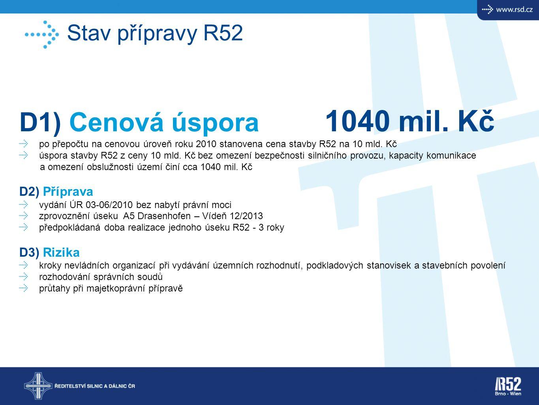 Stav přípravy R52 D1) Cenová úspora 1040 mil. Kč po přepočtu na cenovou úroveň roku 2010 stanovena cena stavby R52 na 10 mld. Kč úspora stavby R52 z c