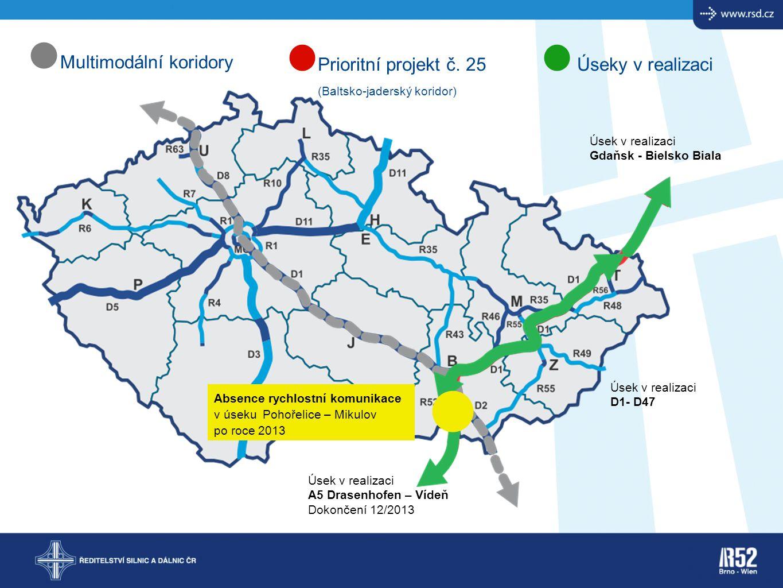 Multimodální koridoryPrioritní projekt č. 25 (Baltsko-jaderský koridor) Úseky v realizaci Úsek v realizaci Gdaňsk - Bielsko Biala Úsek v realizaci A5