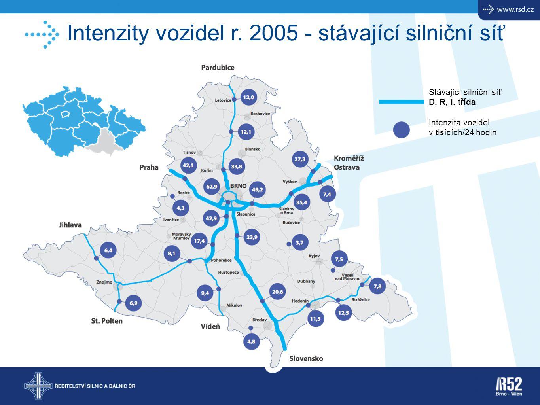Intenzity vozidel r. 2005 - stávající silniční síť Stávající silniční síť D, R, I. třída Intenzita vozidel v tisících/24 hodin