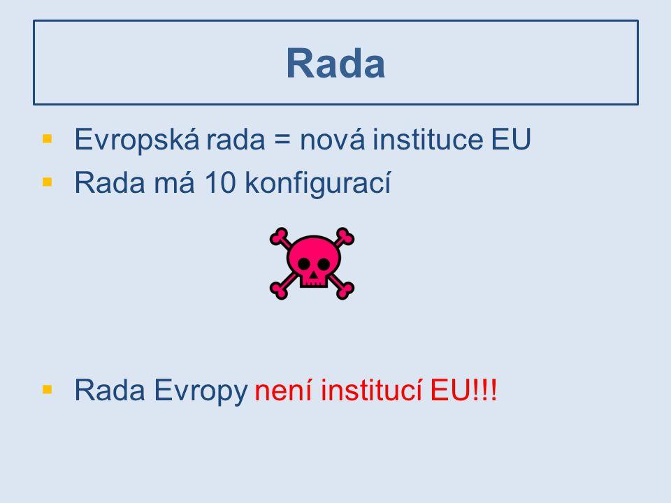  Evropská rada = nová instituce EU  Rada má 10 konfigurací  Rada Evropy není institucí EU!!!