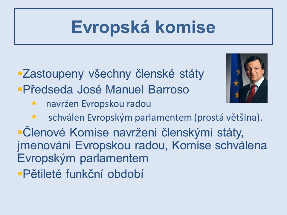 Evropská komise  Zastoupeny všechny členské státy  Předseda José Manuel Barroso  navržen Evropskou radou  schválen Evropským parlamentem (prostá v