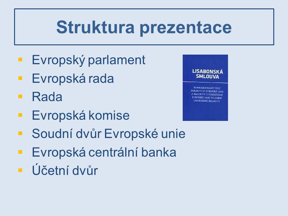 Evropský parlament  Legislativní a rozpočtová funkce  Spolurozhodovací role (společně s Radou)  Funkce politické kontroly  754 členů  Minimální zastoupení členského státu – šest europoslanců, maximální 96  Pětileté funkční období, volby všeobecné a přímé.