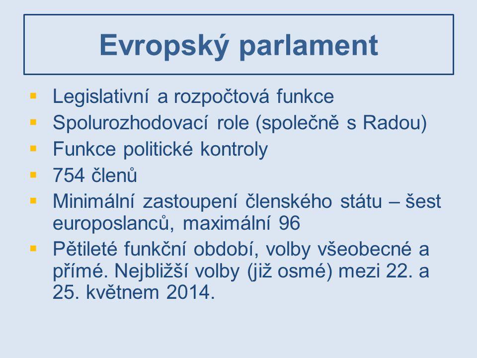Evropský parlament  Legislativní a rozpočtová funkce  Spolurozhodovací role (společně s Radou)  Funkce politické kontroly  754 členů  Minimální z
