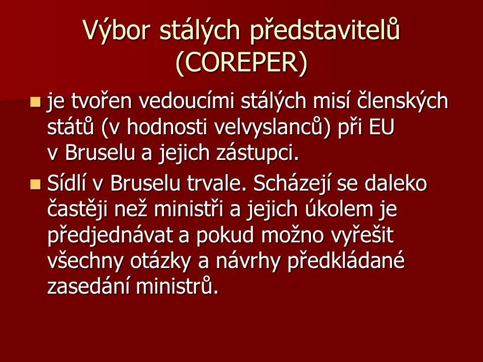Výbor stálých představitelů (COREPER) je tvořen vedoucími stálých misí členských států (v hodnosti velvyslanců) při EU v Bruselu a jejich zástupci. je