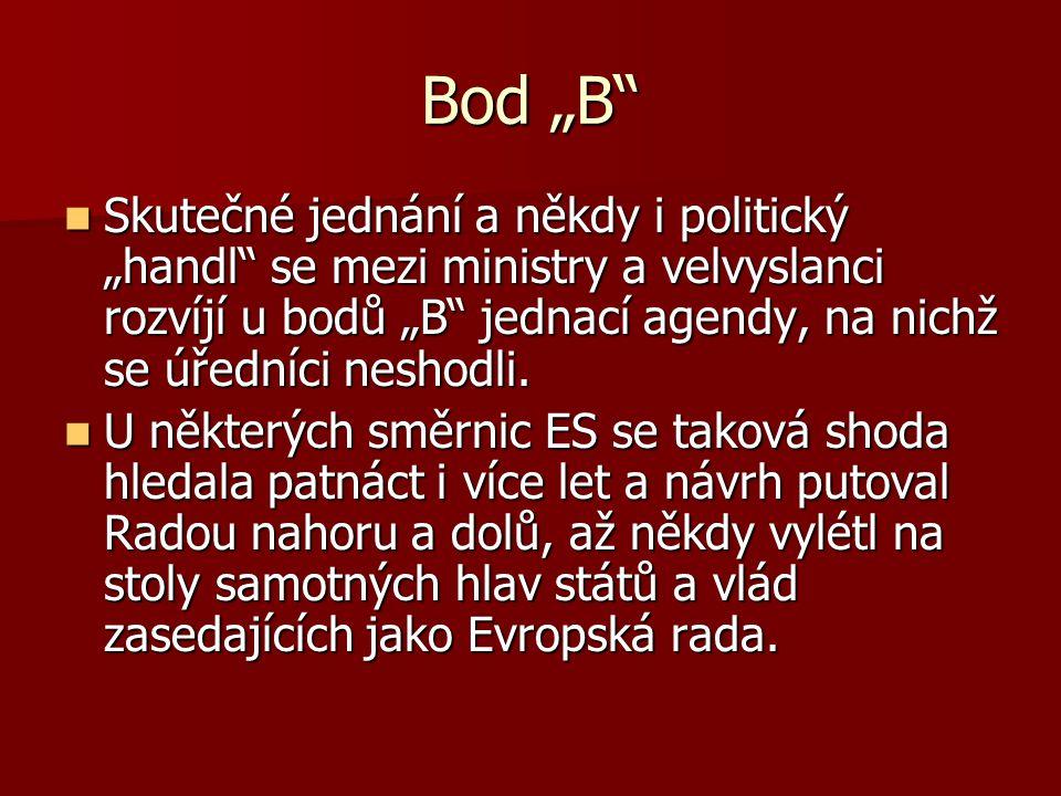 """Bod """"B"""" Skutečné jednání a někdy i politický """"handl"""" se mezi ministry a velvyslanci rozvíjí u bodů """"B"""" jednací agendy, na nichž se úředníci neshodli."""