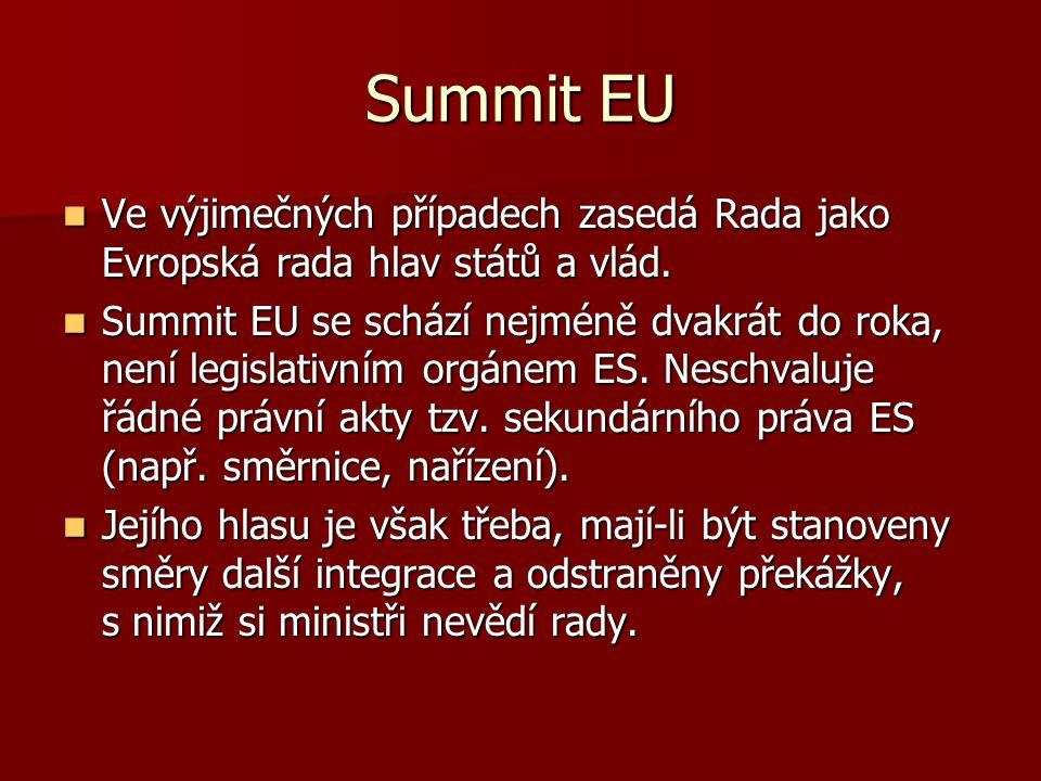 Summit EU Ve výjimečných případech zasedá Rada jako Evropská rada hlav států a vlád. Ve výjimečných případech zasedá Rada jako Evropská rada hlav stát