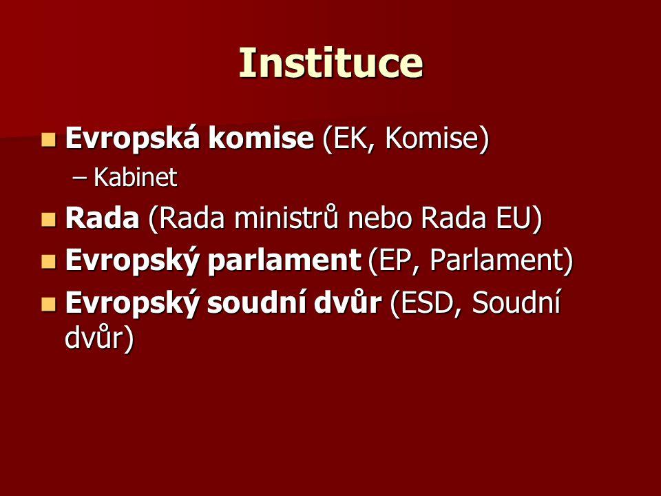 Instituce Evropská komise (EK, Komise) Evropská komise (EK, Komise) –Kabinet Rada (Rada ministrů nebo Rada EU) Rada (Rada ministrů nebo Rada EU) Evrop