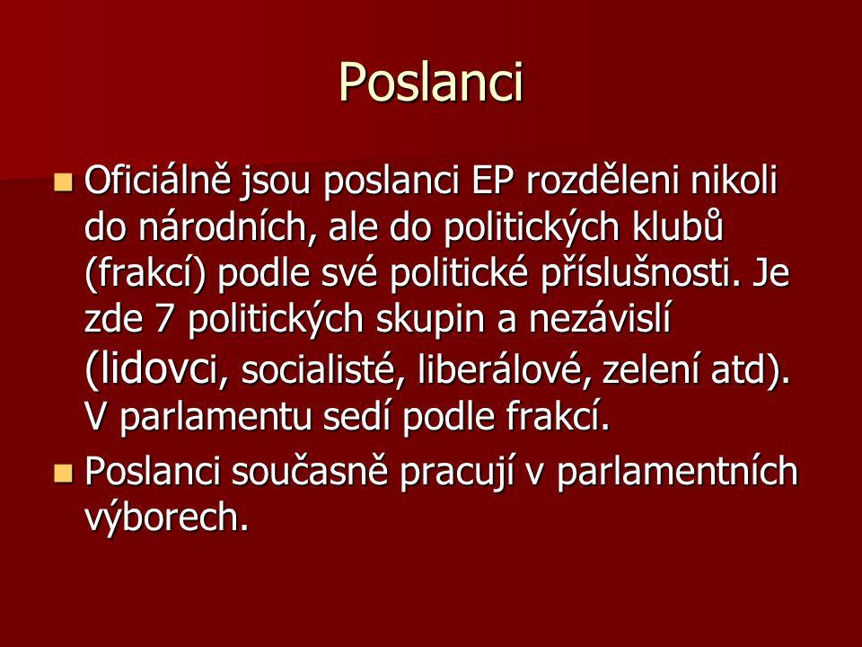 Poslanci Oficiálně jsou poslanci EP rozděleni nikoli do národních, ale do politických klubů (frakcí) podle své politické příslušnosti. Je zde 7 politi