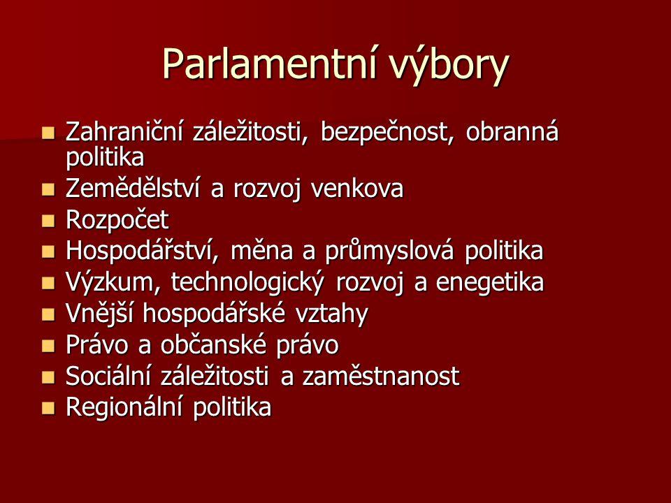 Parlamentní výbory Zahraniční záležitosti, bezpečnost, obranná politika Zahraniční záležitosti, bezpečnost, obranná politika Zemědělství a rozvoj venk