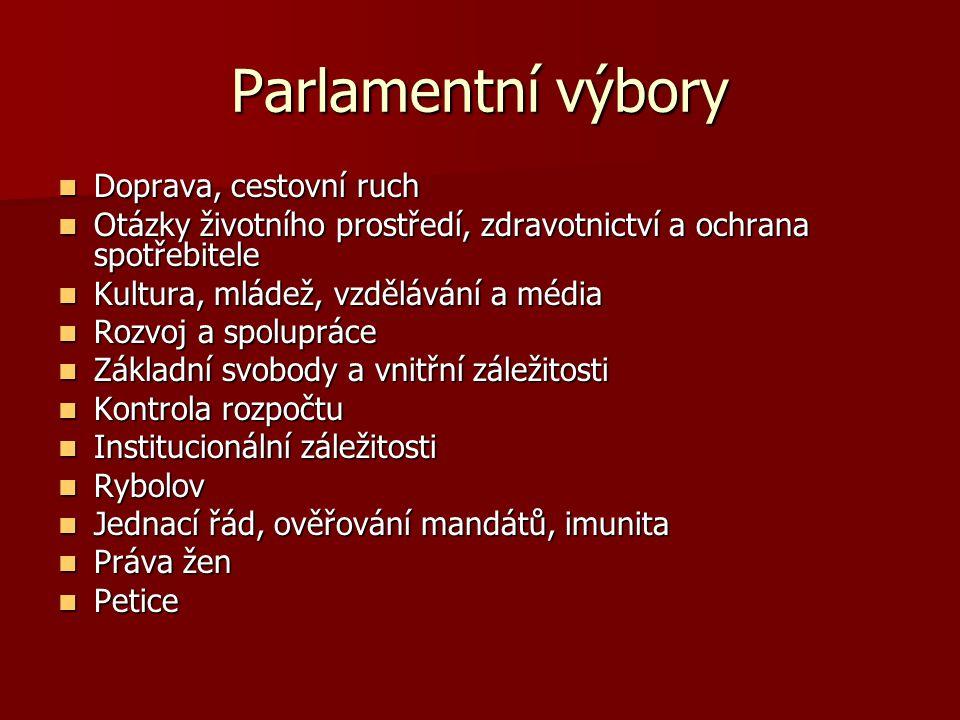 Parlamentní výbory Doprava, cestovní ruch Doprava, cestovní ruch Otázky životního prostředí, zdravotnictví a ochrana spotřebitele Otázky životního pro
