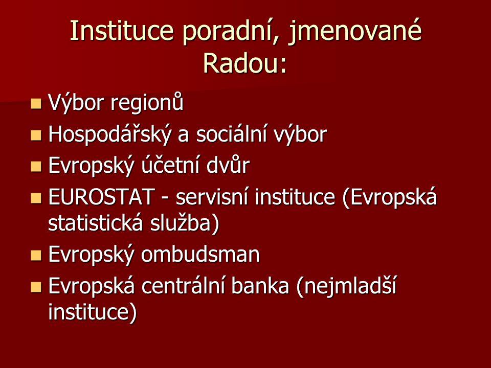 Instituce poradní, jmenované Radou: Výbor regionů Výbor regionů Hospodářský a sociální výbor Hospodářský a sociální výbor Evropský účetní dvůr Evropsk