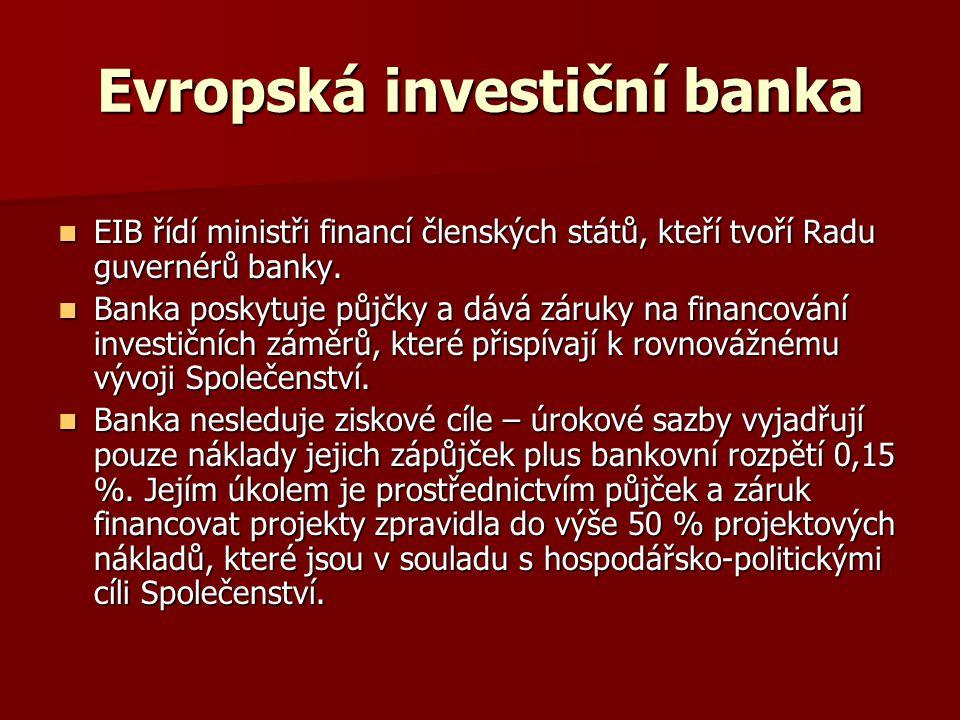 Evropská investiční banka EIB řídí ministři financí členských států, kteří tvoří Radu guvernérů banky. EIB řídí ministři financí členských států, kteř