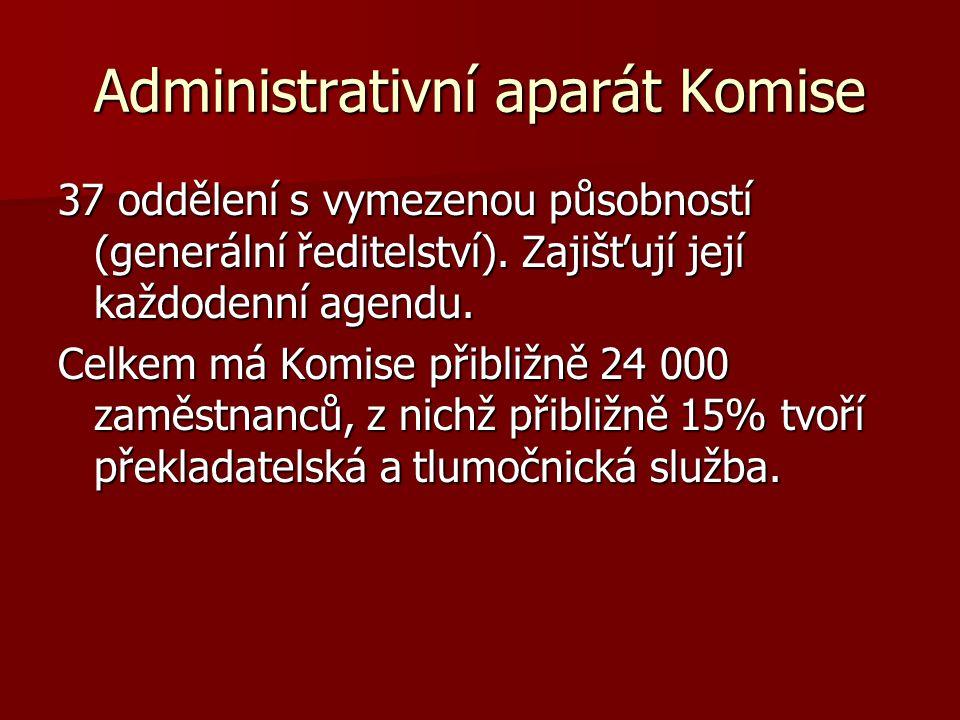 Administrativní aparát Komise 37 oddělení s vymezenou působností (generální ředitelství). Zajišťují její každodenní agendu. Celkem má Komise přibližně