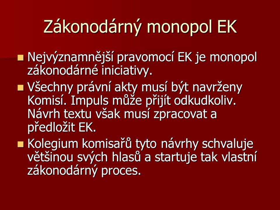 Zákonodárný monopol EK Nejvýznamnější pravomocí EK je monopol zákonodárné iniciativy. Nejvýznamnější pravomocí EK je monopol zákonodárné iniciativy. V