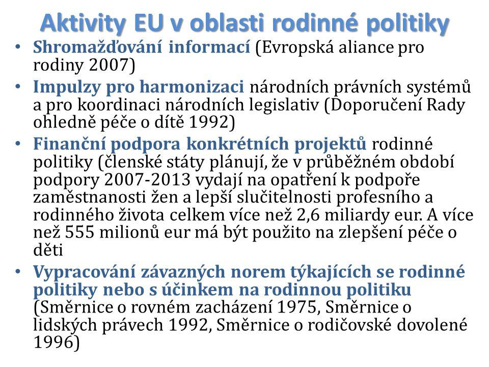 Aktivity EU v oblasti rodinné politiky Shromažďování informací (Evropská aliance pro rodiny 2007) Impulzy pro harmonizaci národních právních systémů a