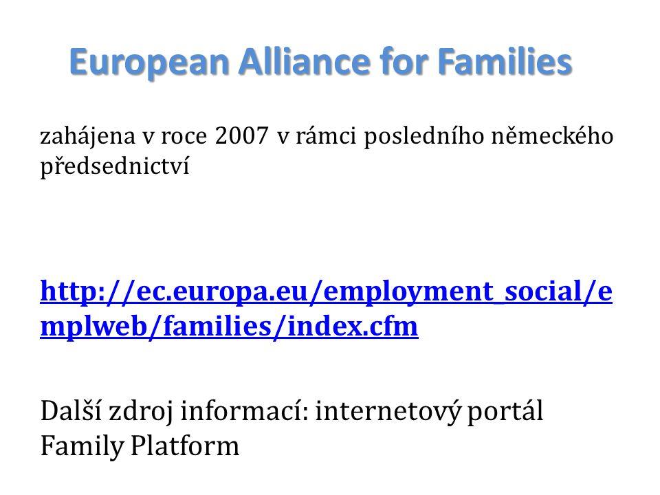 European Alliance for Families zahájena v roce 2007 v rámci posledního německého předsednictví http://ec.europa.eu/employment_social/e mplweb/families