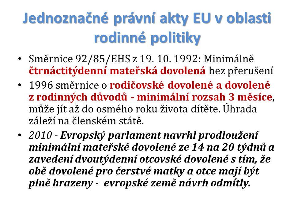 Jednoznačné právní akty EU v oblasti rodinné politiky Směrnice 92/85/EHS z 19. 10. 1992: Minimálně čtrnáctitýdenní mateřská dovolená bez přerušení 199