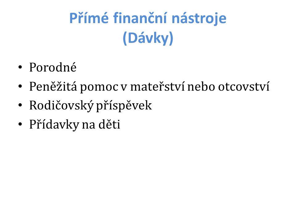 Přímé finanční nástroje (Dávky) Porodné Peněžitá pomoc v mateřství nebo otcovství Rodičovský příspěvek Přídavky na děti