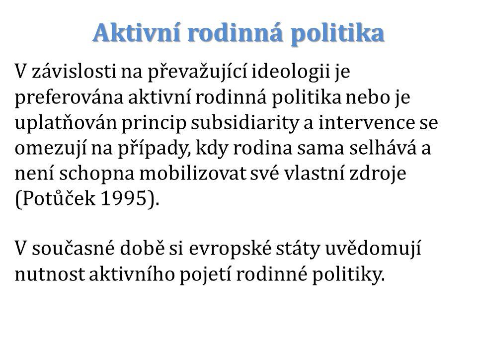 Aktivní rodinná politika V závislosti na převažující ideologii je preferována aktivní rodinná politika nebo je uplatňován princip subsidiarity a inter