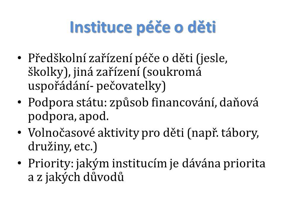 Instituce péče o děti Předškolní zařízení péče o děti (jesle, školky), jiná zařízení (soukromá uspořádání- pečovatelky) Podpora státu: způsob financov