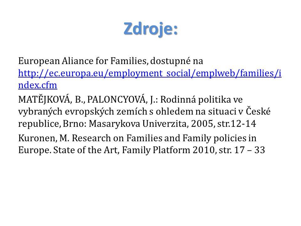 Zdroje: European Aliance for Families, dostupné na http://ec.europa.eu/employment_social/emplweb/families/i ndex.cfm http://ec.europa.eu/employment_so
