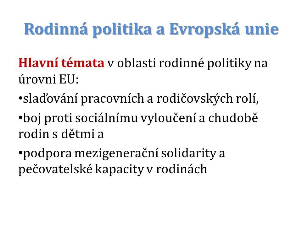Rodinná politika a Evropská unie Hlavní témata v oblasti rodinné politiky na úrovni EU: slaďování pracovních a rodičovských rolí, boj proti sociálnímu